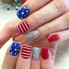 Stylish 30 Amazing Holiday Nail Art Designs Ideas For You Nail Art Designs, Usa Nails, Patriotic Nails, 4th Of July Nails, July 4th Nails Designs, Striped Nails, Blue Nails, Holiday Nail Art, Nagel Gel