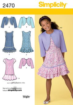Dressy to casual, this pattern allows ay options for your rodeo princess.  Girls/Girls plus dress, bolero Sewing Pattern 2470 Simplicity