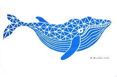 Whale - Mini Block Print. $12.00, via Etsy.