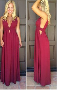 V-Neck Simple Prom Dress,Long Prom Dresses,Cheap Prom Dresses,Evening Dress Prom Gowns, Custom Made Formal Women…