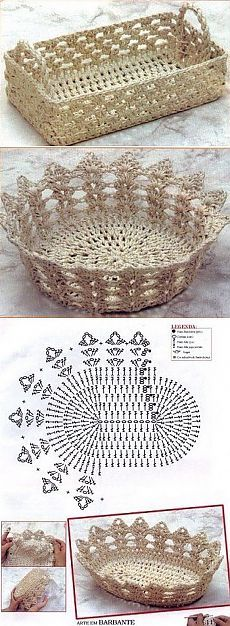 Ideas for basket crochet diagram ganchillo Crochet Bowl, Crochet Art, Thread Crochet, Crochet Motif, Crochet Crafts, Crochet Doilies, Yarn Crafts, Crochet Flowers, Crochet Projects