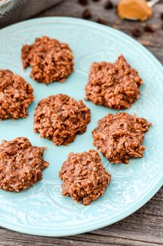 Healthy No-Bake Chocolate Peanut Butter Cookies! With only 8 good-for-you ingredients, they're a delicious treat you can feel great about eating! Gluten-free, dairy-free, refined-sugar free AND vegan!