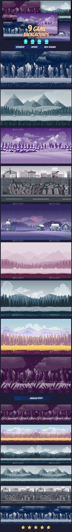 Game Backgrounds Set Design Template - Backgrounds Game Assets Design Template Vector EPS, AI Illustrator. #GameUI #GameUX Download here: https://graphicriver.net/item/game-backgrounds-set/19208948?ref=yinkira