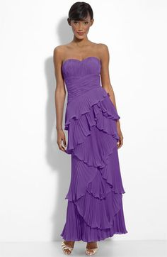 Dalia MacPhee Tiered Pleat Chiffon Gown available at #Nordstrom