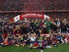 Final de la Copa de su Majestad el Rey 2016 entre los equipos FC Barcelona - Sevilla en el Estadio Vicente Calderon.
