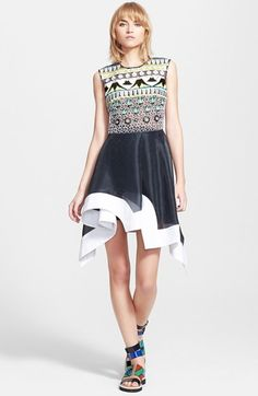 PETER PILOTTO 'Tessera' Embroidered Asymmetrical Fit & Flare Dress available at #Nordstrom