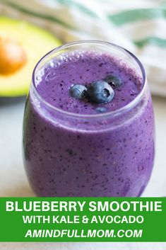 Smoothie: A blueberry smoothie made with avocado and kale is full of calcium, protein, antioxidants, healthy fats and fruits and veggies.Whether you tell anyone that their are veggies in this smoothie is up to you, your secret is safe with me. Blueberry Kale Smoothie, Kale Smoothie Recipes, Green Detox Smoothie, Healthy Green Smoothies, Strawberry Smoothie, Fruit Smoothies, Healthy Fats, Diabetic Smoothies, Simple Smoothies