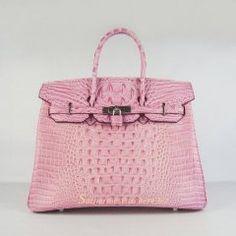 Sacs Hermès Pas Cher Birkin 35cm Crocodile Head Veins Cuir Sac Rose 6089