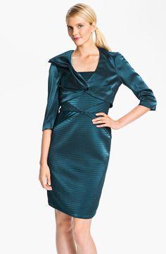 7a1c8b5e1fc Adrianna Papell | Blue Pleated Satin Sheath Dress Bow Detail Bolero | Lyst