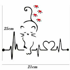 Lovely Cat Heartbeat Paw Car Decal – I Love Cat Socks - crazy cats Silhouette Chat, Body Art Tattoos, Tatoos, Cat Tattoo Designs, Cat Crafts, Cat Drawing, I Love Cats, In A Heartbeat, Rock Art
