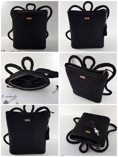Crochet backpack pattern inspiration / crochet bag from t-shir yarn - Salvabrani - Knitting Crochet ideas Häkeln Sie Rucksackmuster Inspiration / Häkeltasche aus T-Shir-Garn - Salvabrani , Knitting Patterns Bag I share the process, so to speak) Shopper Diy Crochet Bag, Form Crochet, Filet Crochet, Knit Crochet, Crochet Handbags, Crochet Purses, Crochet Backpack Pattern, Drops Paris, Bag Patterns