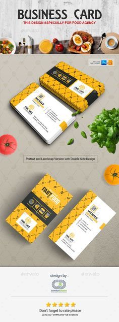 Business Card Design Template for Fast Food / Restaurants / Cafe - Industry Specific #Business Cards Download here:   https://graphicriver.net/item/business-card-design-template-for-fast-food-restaurants-cafe/20270687?ref=alena994