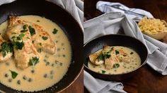 Prsa jsou dobrá hlavně rychle restovaná, maso zůstane šťavnaté a omáčka z parmazánu a smetany ho skvěle doplňuje. A nezapomeňte na kapary, ty omáčce dodají tu správnou tečku. Cheeseburger Chowder, Mashed Potatoes, Good Food, Soup, Tasty, Cooking, Ethnic Recipes, Passion, Whipped Potatoes
