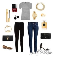 """""""Wild grey"""" by judith-molinero-fashion on Polyvore featuring Jaeger, Oscar de la Renta, H&M, Michael Kors, Yves Saint Laurent, Chanel, Dutch Basics, Bridge Jewelry, French Sole FS/NY and 7 For All Mankind"""