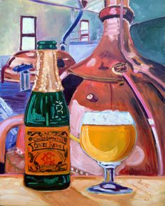 Beer Painting of Geuze by Lindemans Brewery in Belgium. Year of Beer Paintings - Day 173.