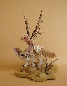 Desert Dwellers (Desert Fox and Fairy Sculpture) by Michelle Bradshaw (~pixiwillow on deviantART)