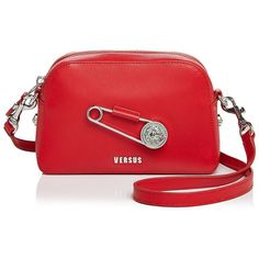 Versus Versace Safety Pin Leather Crossbody ($375) ❤ liked on Polyvore featuring bags, handbags, shoulder bags, red crossbody, red leather purse, leather shoulder bag, leather handbags and red shoulder bag
