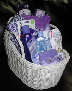 Baby girls lavender gift basket un-wrapped
