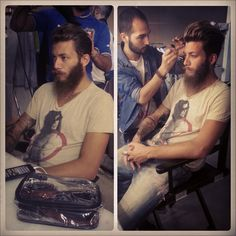 """Andrea is getting his make up and hair done before the #photo shoots of """"#Tomorrow's #World"""""""
