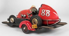 Ohlsson & Rice Rare Streamline American Art Deco Tether Race Car Model No. 88 with Trailer circa 1950 | From a unique collection of antique and modern models and miniatures at https://www.1stdibs.com/furniture/more-furniture-collectibles/models-miniatures/