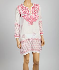 Look what I found on #zulily! Pink Embroidered St. Tropez Tunic - Women by Raj Imports #zulilyfinds