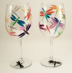 Multicolor dragonfly hand painted wine glasses  set of by RaeSmith, $33.00