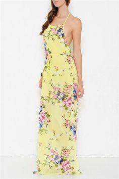Rose Garden Open Back Floral Maxi Dress - Lemon