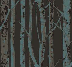 Birch Tree Black Wallpaper for the men's room vanity wall