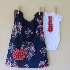 Brother and Sister Set . Twins . Girl Peasant Dress . Boy Tie T or Bodysuit . Momento Midnight