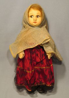"Old Cloth Hand Painted Molded Face Lenci Style Babushka Scarf Girl 11"" Doll"