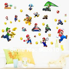 [listed in stock]-100x70cm(40x28in)Decorative Children Wall Sticker Free Shiping Cartoon Super Mario Classic Game