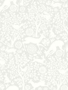 טפט חיות ביער באפור לבן
