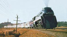 Norfolk & Western's modern streamlined J class 4-8-4 northern type steam Locomotive # 600, is seen hauling the Tennessean near Ronoake, Virginia, early 1950's | by alcomike43