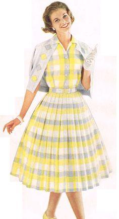 suburban chic 1957 vintage fashion style 50s 60s yellow plaid dress matching sweater coordinates grey color photo print ad model magazine