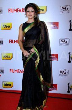 The Idea Filmfare awards, south edition, took place today in the presence of luminaries from Tamil, Telugu, Kannada and Malayalam industries. Indian Beauty Saree, Indian Sarees, Indian Dresses, Indian Outfits, Bridal Sari, Pakistani Bridal, Saree Jackets, Sari Blouse Designs, Blouse Patterns