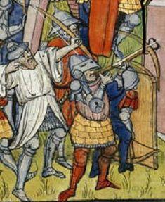 Siege of Acre shows crossbowmen and Pavise, from Chroniques de France ou de St. Denis end C14