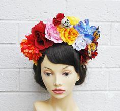 Dia De Los Muertos Headband Skull Flower Crown Headband by LilaJo, $50.00