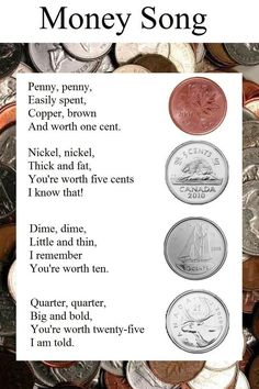 Teaching money through song....seems like a fun and easy way for my girls to learn the value of each coin!