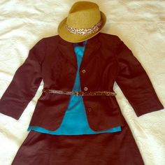 Kate Hill brown skirt and jacket suit set. Dark brown, linen 2 piece skirt and jacket suit set, fully lined. A-line skirt, knee length. Looks great with turquoise. No rips, tears or stains. Lightly worn. Kate Hill Skirts