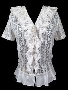 Exquisite LACE BLOUSE Antique Edwardian 1900's Chantilly SmockingTextile Linen #Handmade #SpecialOccasion