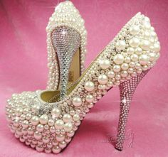 Free Shipping new arrive Handmade Ivory Pearl and Crystal High Heel Cream Wedding Shoes $169.30