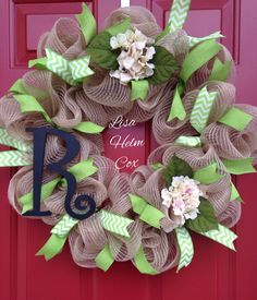 Personalized jute/burlap mesh wreath with lime green ribbon