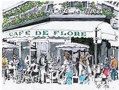 "Original art for sale at UGallery.com | Cafe de Flore, Paris by Paul Guyer |  | ink artwork | 8.5"" h x 11"" w | http://www.ugallery.com/ink-artwork-cafe-de-flore-paris"