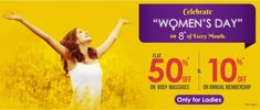 """Celebrating """"WOMEN'S DAY"""" on 8th of Every Month.Get 50% OFF on all Body Massages & 10% OFF on Annual Membership.  Book Now: http://www.oraspa.in  #WomensDay #InternationalWomensDay #WomensDay2018"""