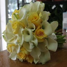 Yellow and White Bridal Hand-Tied Bouquet Lily Bouquet Wedding, Calla Lily Bouquet, Calla Lillies, White Wedding Bouquets, Lilies, Prom Bouquet, Bouquet Flowers, Yellow Wedding, Prom Flowers