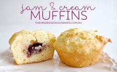 A simple recipe to get the kids in the kitchen to make themselves. Tasted just like jam and cream scones. Freezer and lunchbox friendly. Muffin Recipes, Cupcake Recipes, Baking Recipes, Cupcake Cakes, Dessert Recipes, Desserts, Cupcakes, Lunch Box Recipes, Thermomix