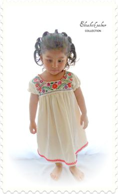 Emily  Mexican Handmade Embroidered Pure cotton Baby Dress. $45.00, via Etsy.