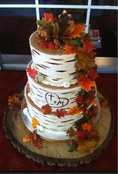"Adorable white birch ""Love Tree"" wedding cake. Fun for a Fall wedding."