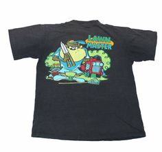 """Vintage 90s Faded Black """"Worn"""" Taz Looney Tunes Shirt Made in USA Mens Size Large"""