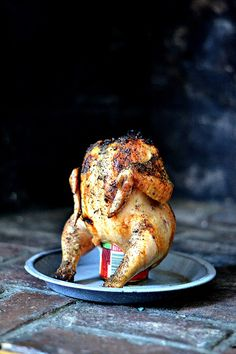 Hard Cider Can Chicken~ This method of grilling a whole chicken uses your favorite craft cider (or beer), it is not only funny to look at, it tastes great and is incredibly moist! holiday take on beer in the butt chicken! Grilling Recipes, Meat Recipes, Dinner Recipes, Cooking Recipes, Best Chicken Recipes, Grilled Chicken Recipes, Beer Butt Chicken, Canned Chicken, Chicken
